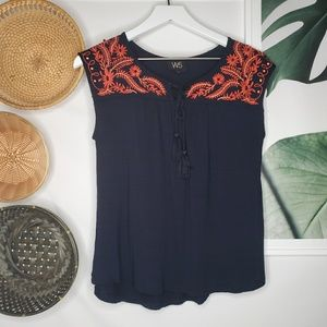 Anthro W5 Blue Floral Embroidered Beaded Boho Tank